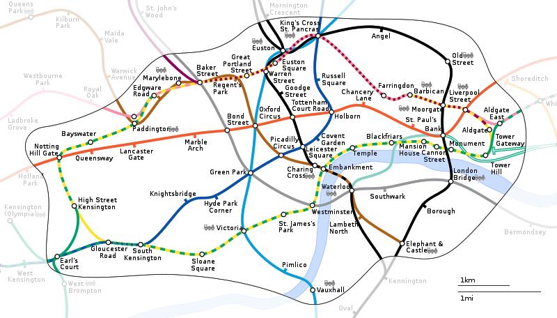 Лондон, схема метро